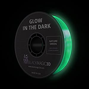 PLA Glow in the Dark 3D Printing Filament, 1.75 mm - 4 Colors Available by Black Magic 3D