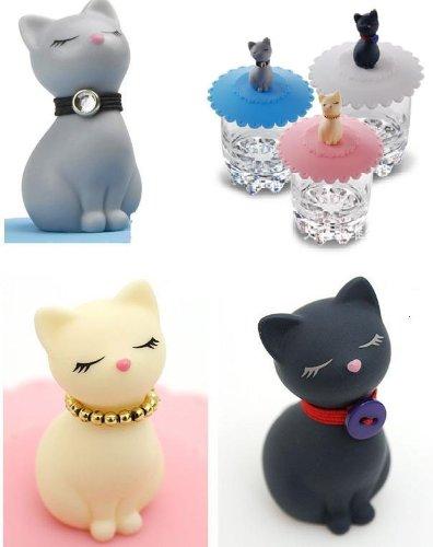 可愛い猫 の シリコン マグカップ蓋 3匹 (3色) セット(SanSanYaオリジナルセット)