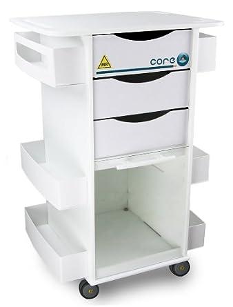 "TrippNT 51728 Polyethylene MRI Core DX Storage Lab Cart, 23"" Width x 33"" Height x 19"" Depth, 6 Shelves"