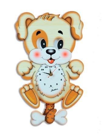 Uhr Hund m. bewegl. Augen aus stabilem Sperrholz handbemalt 20x38x6,5 cm günstig bestellen