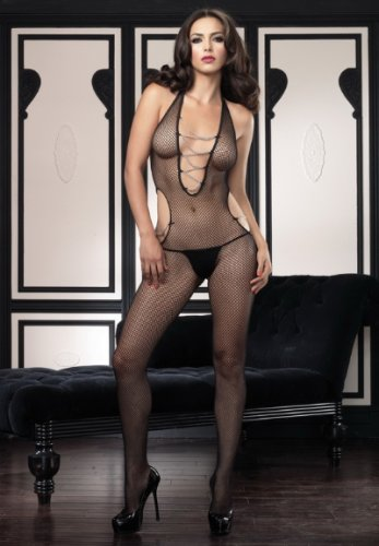 Halter fishnet cut out bodystocking with chain detail