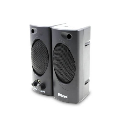 IMicro 2.0 Channel Plastic Multimedia Speaker System (Black) - RETAIL
