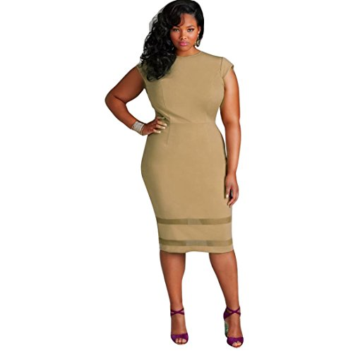 Anboo Women Plus Size Design Solid Sleeveless Gauze Splice Mini Dress (XXXL, khaki)