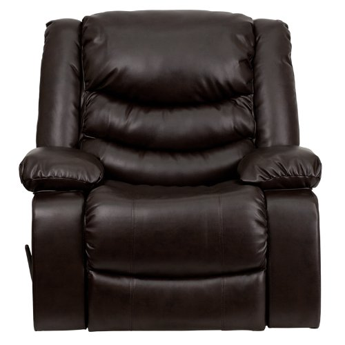 Flash Furniture MEN-DSC01078-BRN-GG Plush Brown Leather Rocker Recliner