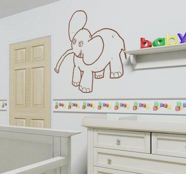 Imagen 1 de Tenvinilo - Vinilo Infantil Elefante - Color : Negro - Talla : 27 x 29