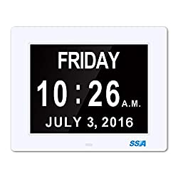 SSA® Digital Day Clock, Memory Loss Digital Calendar Day Clock, with Extra Large Non-Abbreviated Day & Month. Perfect for Seniors (White)
