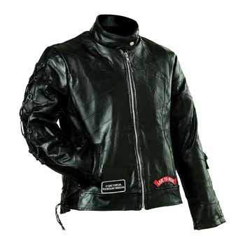 Diamond Plate Ladies' Rock Design Genuine Buffalo Leather Motorcycle Jacket