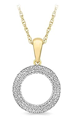 Pave Prive 9ct Yellow Gold with White Diamonds Round Circle Pendant on Chain 46cm
