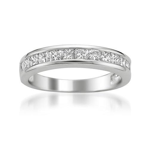 Platinum Princess-Cut Diamond Bridal Wedding Band Ring (1 Cttw, G-H, Vs2)