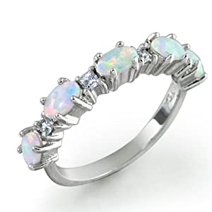 Bling Jewelry Sterling Silver White Opal & Clear CZ Stackable Ring