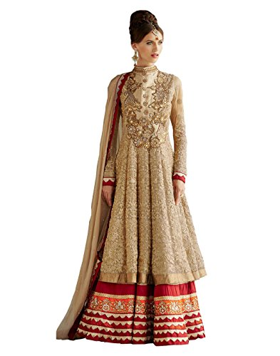 Goodluckfashions Womens Net Resham Anarkali Dress Material (Kim-1006 _Beige _Free Size)