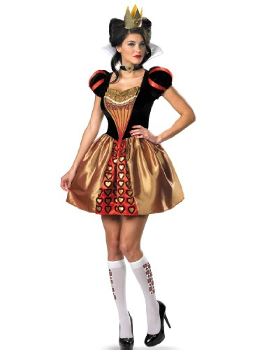 Queen of Hearts Costume Red Queen Dress Crown Socks Womens Theatrical Costume