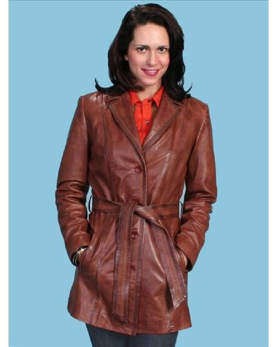 Scully Women's Long Belted Leather Jacket Brown X-Large