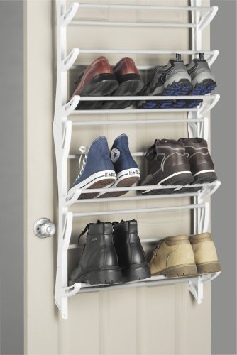 Whitmor over the door 36 pair hanging shoe rack organizer storage closet boot ebay - Shoe storage small space pict ...