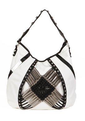 White & Black Faux Leather Shoulder Bag: White & Black Shoulder Bag