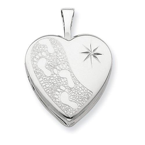 Sterling Silver 16mm D/C Footprints Heart Locket