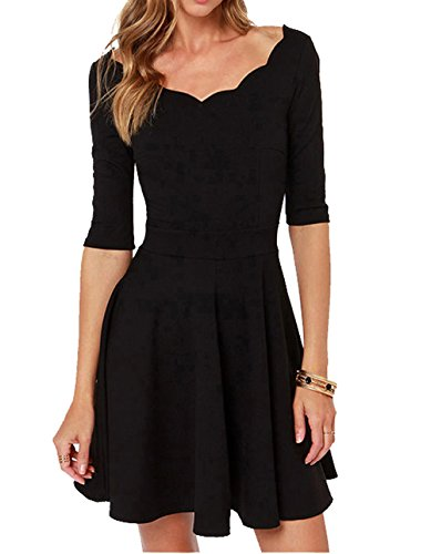 Tengo Women Slim Flared Tunic Corrugated Neckline Dress (S, Black)
