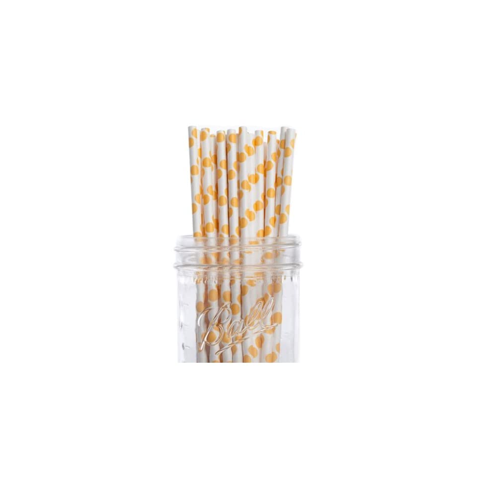 Dress My Cupcake Yellow Polka Dot Paper Straws, 100 Pack Kitchen & Dining