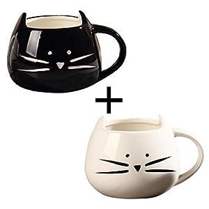OliaDesign Black & White Cat Coffee Ceramic Mugs, Set of 2 from OliaDesign