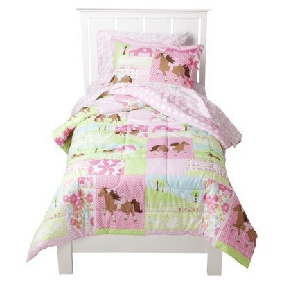 Cisco Pretty Horses Collection Twin 5 Piece set – Comforter Sham and Sheets