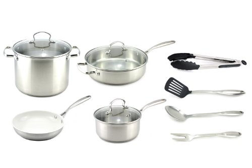 Kevin Dundon SKD11CWSSS 11-Piece Cookware Set, Stainless (Kevin Dundon Nonstick Cookware compare prices)