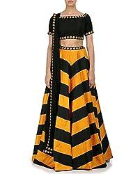 New Yellow & Black Designer Lehngha Choli