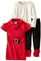 Little Lass Baby-Girls Infant 2 Piece Belted Rib Knit Sweater Set, Red, 12 Months