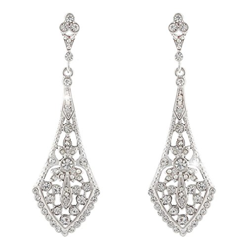 EVER FAITH Austrian Crystal Wedding Chandelier Art Deco Earrings Silver-Tone (Vintage Rhinestone Earrings compare prices)