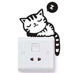 インテリア デザイン シール ルーム ライト スイッチ 周り ワンポイント デコ!おしゃれ カワイイ 壁紙 ステッカー / 転写式 / 子猫 ねこ