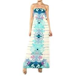 Fashion Floral Strapless Blouson Maxi Long Women Dress