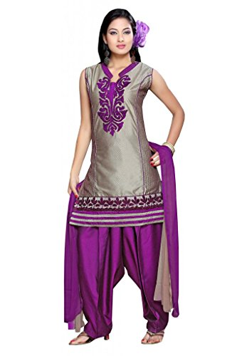 Charu Boutique Women Raw Silk Salwar Suit Set (Cbs2262L _Grey Purple _Large)