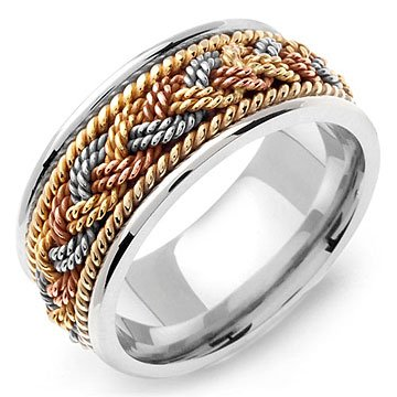 EUTHYMIOS 14K TriColor Braided White Gold Wedding Band Ring