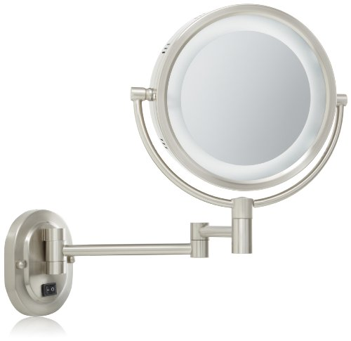 Jerdon Hl65Nd 8-Inch Lighted Wall Mount Direct Wire Mirror With 5X Magnification, Matte Nickel Finish