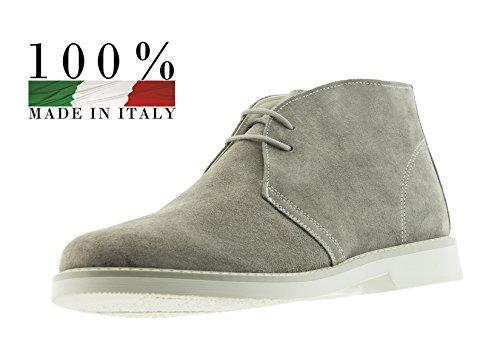 POLACCHINE UOMO MADE IN ITALY IN 100% VERA PELLE COLLEZIONE PRIMAVERA ESTATE (42: 28 cm, Grigio)