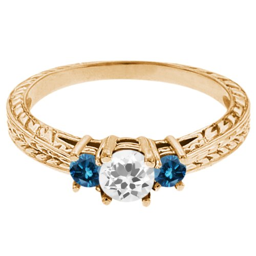 0.57 Ct Round White Topaz Blue Diamond 14K Yellow Gold 3-Stone Ring