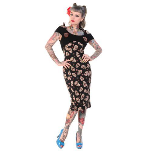 Banned Black Sugar Skull Print Rockabilly 50s Vintage Pinup Party Pencil Dress