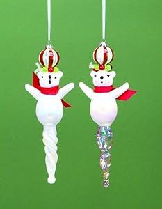 Melrose International Glass Polar Bear Finial Ornament, Set of 2, 11-Inch Each