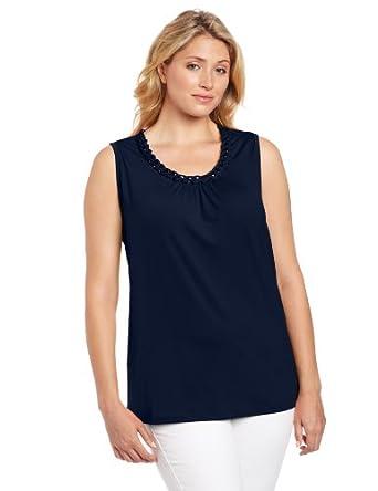 Sag Harbor Women's Plus-Size Sleeveless Knit Top, Navy, 2X