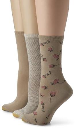 Gold Toe Women's Fashion 3 Pack,Dust/Khaki/Oatmeal,9-11