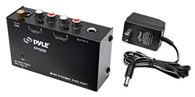 Pyle PP555 Ultra Compact Phono Turntable Pre-Amplifier with 9V Battery Compartment to Mini Phono Preamp by Sound Around
