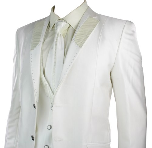 Mens Cream Slim Fit Shiny Wedding Party Suit Blazer, Trouser, Crovat & Waistcoat Diamonte