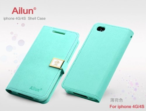 Ailun Luxury Magnetic Wallet Flip Leather Case Cover For Apple Iphone 4 4G 4S - Baby Green front-64869