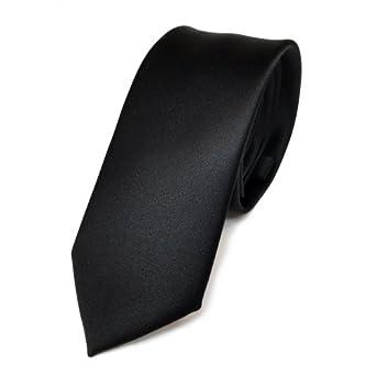 Cravate unie - satin noir - fine
