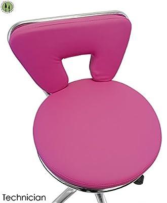 Pink Hydraulic Tattoo Salon Rolling Stool Massage Spa Swivel W/ Back Support
