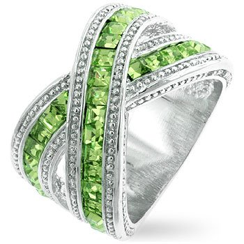 Double Bond Eternity Ring with Peridot CZ - Size: 5-11, 11