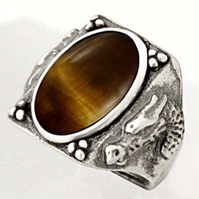 Heavy Weight Sterling Dragon Ring with Golden Tiger Eye Made in America Available in Size 8 to 12
