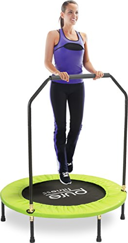 "Pure Fitness 40"" Mini Rebounder Trampoline with Adjustable Handrail, Ages 13+"