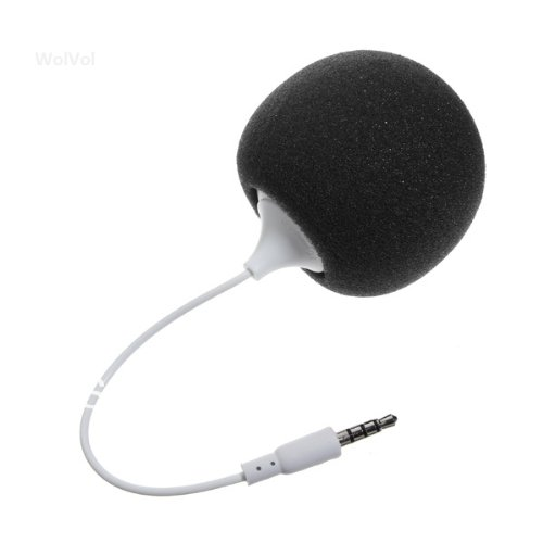 Wolvol (Black) Portable On-The-Go Cute Sponge Speaker For Phones/Tablets/Computers/Players (Usb Charging Cable Enclosed)
