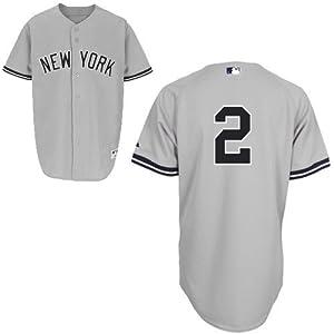 New York Yankees #2 Derek Jeter Replica Grey Road Cool Base Youth Jersey-L