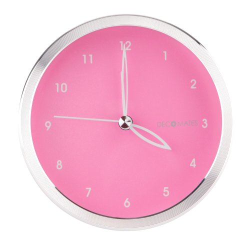 DecoMates Non-Ticking Silent Wall and Desk Alarm Clock, Small, Spring Breeze, Pink